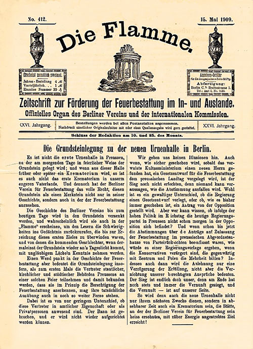 Faksimile der Feuerbestatterzeitschrift Die Flamme von 1909